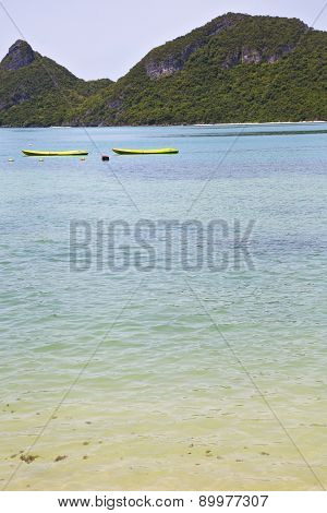 Boat Coastline Of A  Green Lagoon And   Sea Thailand Kho Phangan