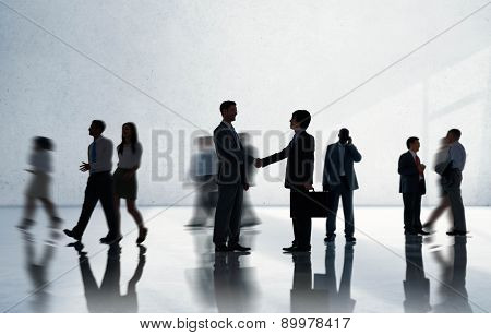 Silhouettes of Diverse Corporate Business People Concept