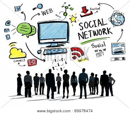 Social Network Social Media Business People Aspiration Concept