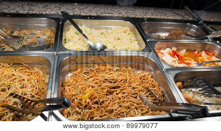Buffet Of Spaghetti And Rice In The Chinese Restaurant