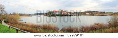 Lake Seeon With Monastery And Chapel Bavarian Landscape