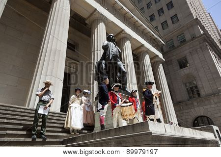 Ceremony For Declaration Of Independence In Old Costumes Takes Place At The Washington Statue In Fro