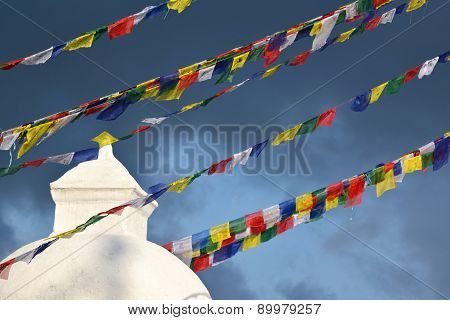 Prayer Flags At Boudhanath Stupa Before The Earthquake, Kathmandu, Nepal