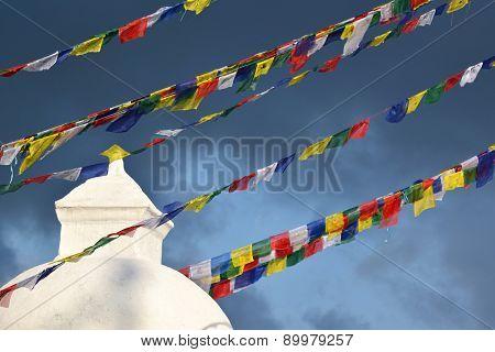 Prayer Flags At Boudhanath Stupa Before The Earthquake, Kathmandu, Nepal