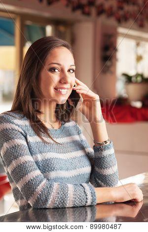 Happy Woman Having A Phone Call