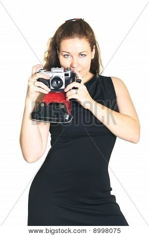 Beautiful Woman With Ancient Camera. A Photographer Isolated On White Background