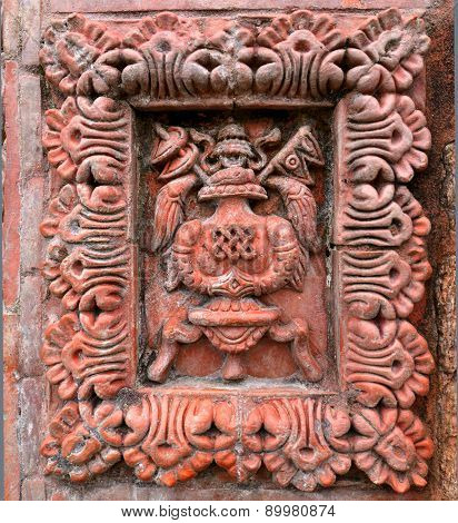He Flag Of Nepal On A Stone Carving In Swayambhunath, Nepal