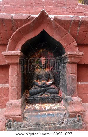 Ancient Statuette Of Sitting Buddha In Swayambhunath. Now Destroyed After The Earthquake That Hit Ka