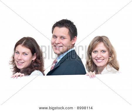 Three Young People A Businessmen Holding Placard. Isolated On White Background