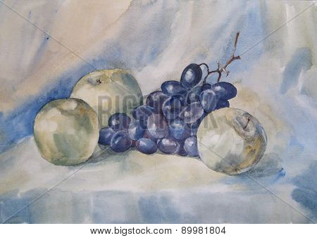 Still Life With Apple And Grapes - Watercolor