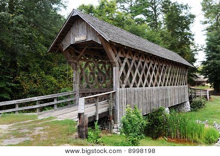 Old wooden covered bridge,