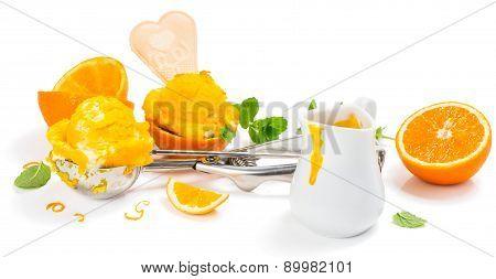 Citrus Ice Cream And Sauce