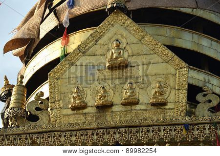 Detail Of Swayambunath Stupa, Before The Earthquake. Kathmandu, Nepal
