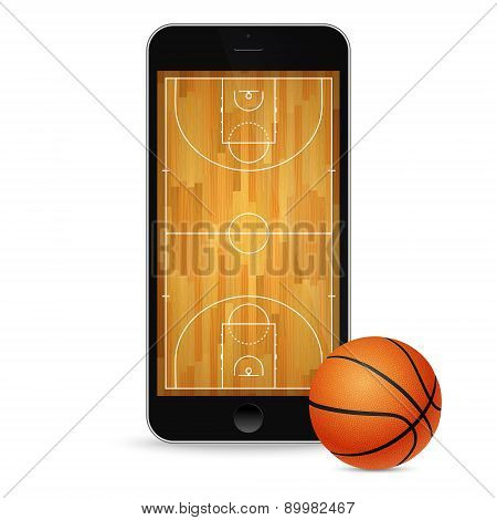 Smartphone With Basketball Ball And Court On The Screen.