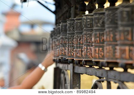Prayer Wheels In Swayambhunath, Nepal