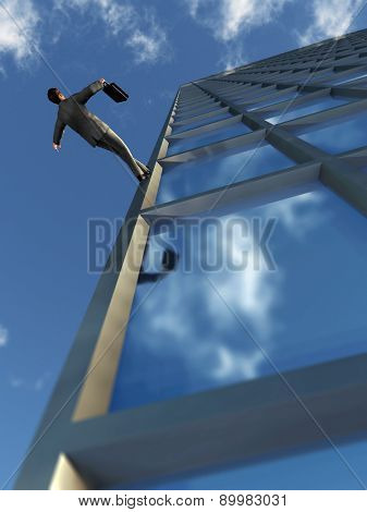 businessman walking on the edge of the building