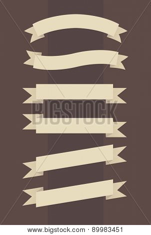 Vector set of vintage banners in engraved style on brown background
