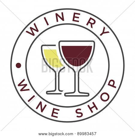 Vector simple linear style icon with glasses of white and red wine for winery label