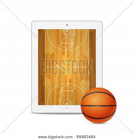 Vector White Tablet With Basketball Ball And Court On The Screen.