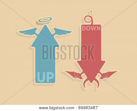 Vector up and down arrows for heaven and hell concept