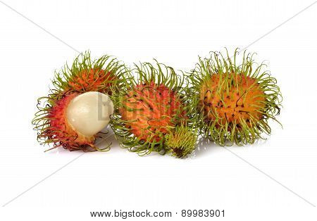 Fresh Rambutan On White Background