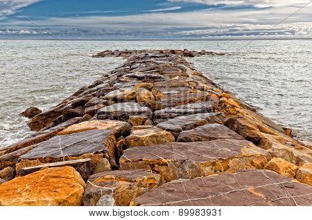 rocks reaf and sea background