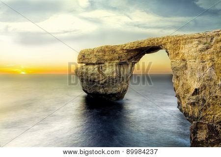 Azure Window The Most Popular Tourist Attraction. The Mighty Natural Arch Over The Sea.