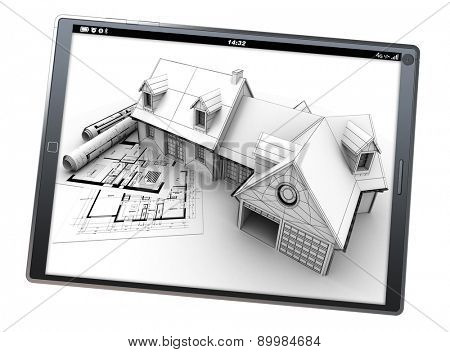 3D rendering of a tablet pc with a house artificial model on top of blueprints