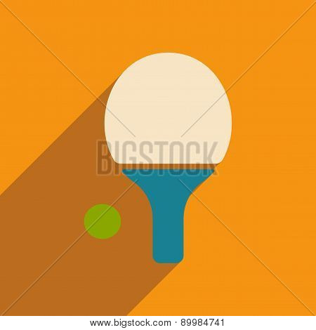 Flat with shadow icon and mobile applacation ping pong