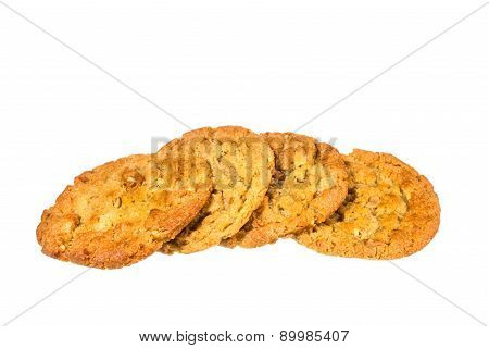 Peanut Butter Cookies On Whit Background