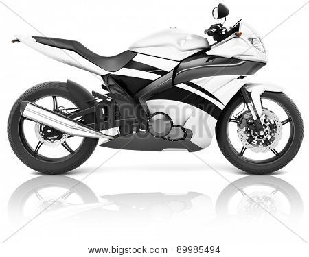 Motorcycle Motorbike Bike Riding Rider Contemporary White Concept