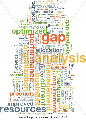 Background text pattern concept wordcloud illustration of gap analysis