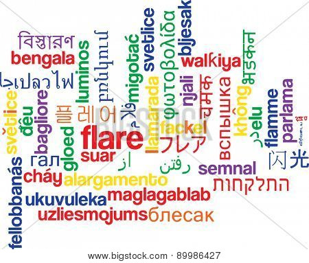 Background concept wordcloud multilanguage international many language illustration of flare