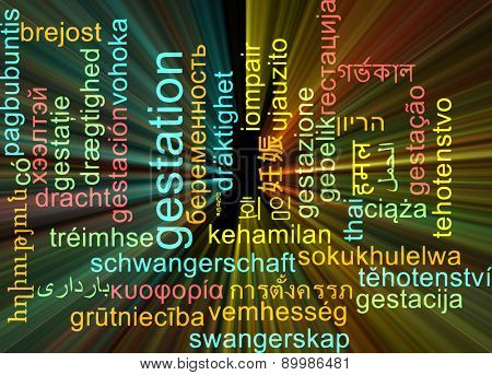 Background concept wordcloud multilanguage international many language illustration of gestation glowing light
