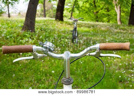 Two bicycles in a green meadow