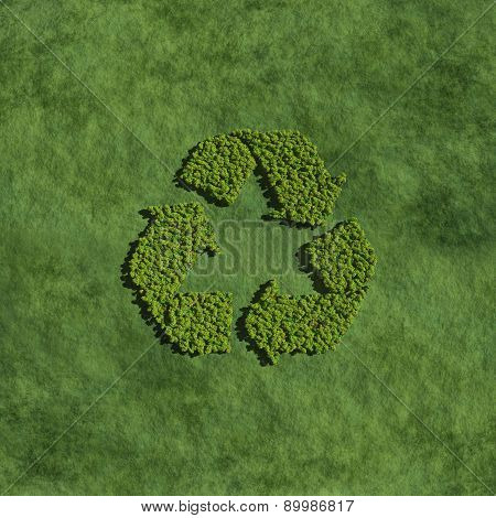 Recycle Icon Create By Tree With Grass Background