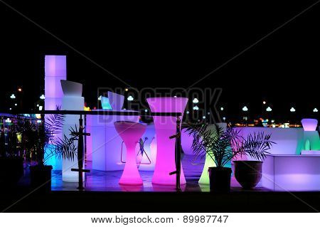 Beautiful Night Cafe With Backlight