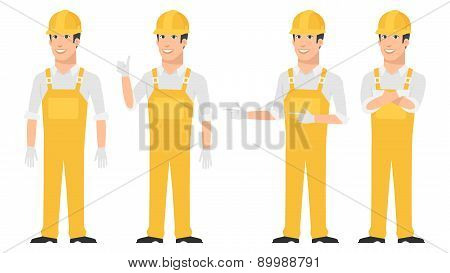 Builder pointing in various poses