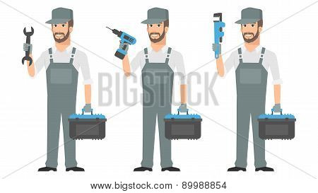 Repairman holding tools wrench screwdriver