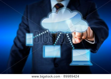 Business Man Touching Smart Computing Network