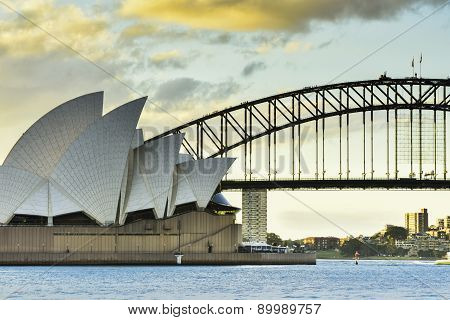 SYDNEY AUSTRALIA - JULY 6, 2015 : View of sunset at Sydney Opera House