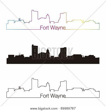 Fort Wayne Skyline Linear Style With Rainbow