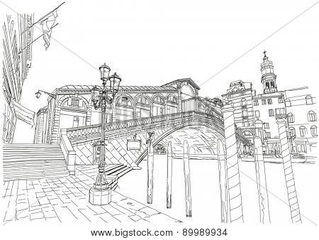 Venice - Grand Canal. View of the Rialto Bridge. Black & white sketch