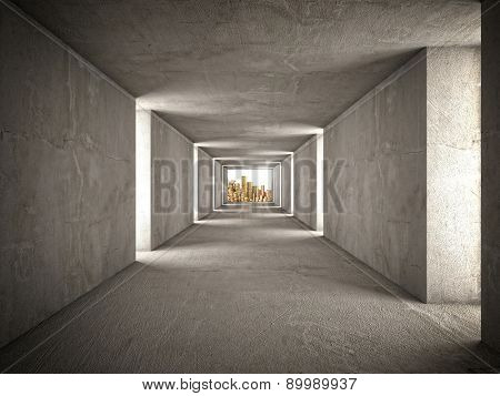 3d image of abstract tunnel and golden money
