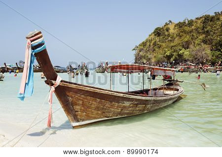 Thethai Boat In Thale Waek (separated Sea) Island