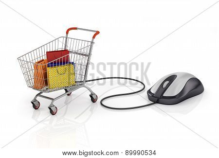 Shopping Bags In The Shopping Cart With Computer Mouse. Online Store. Internet Shopping Concept.