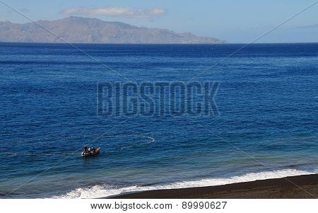 Boat Fishing Near Island