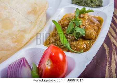 Chole Bhature With Salad And Chutney