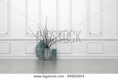 Modern arrangement of twigs in hand crafted ceramic vases of different shapes standing on the floor against a white paneled wall with copyspace. 3d Rendering.