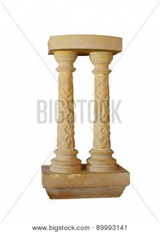 Architectural Columns With Pattern Isolated On White Background